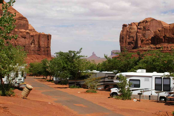 Goulding's RV's at RV park with buttes in distance