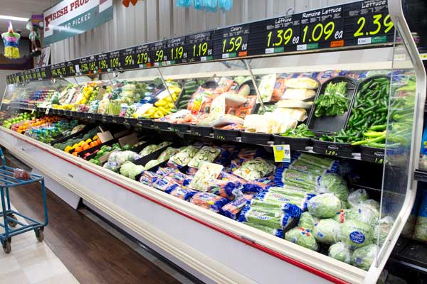 Goulding's Grocery store produce cooler