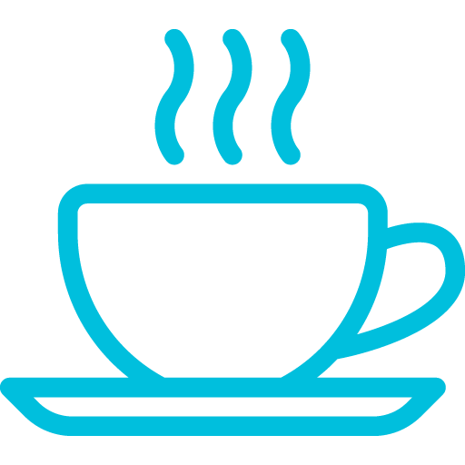 Hot coffee icon in blue