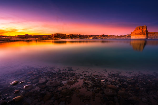 Beautiful sunset at Lone Rock in Lake Powell